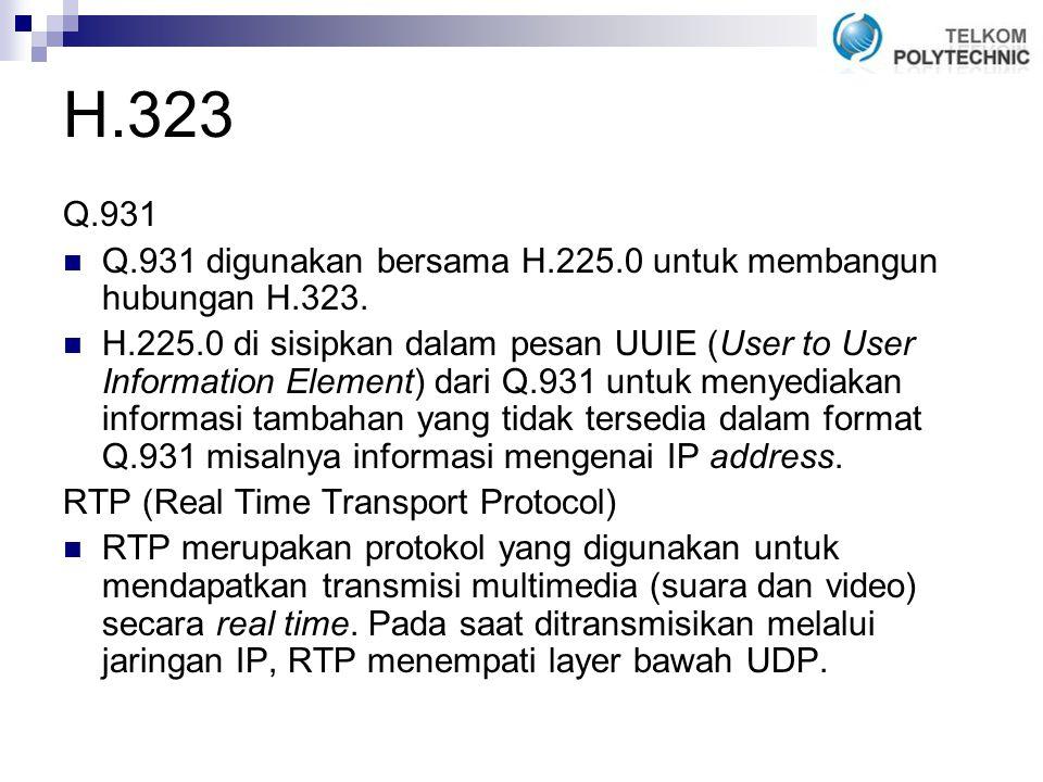 H.323 Q.931. Q.931 digunakan bersama H.225.0 untuk membangun hubungan H.323.