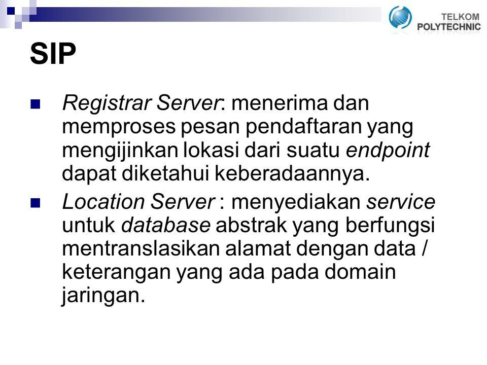 SIP Registrar Server: menerima dan memproses pesan pendaftaran yang mengijinkan lokasi dari suatu endpoint dapat diketahui keberadaannya.