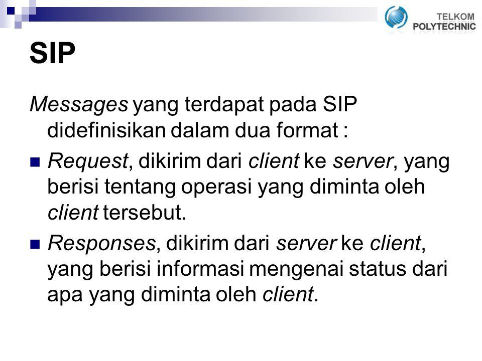 SIP Messages yang terdapat pada SIP didefinisikan dalam dua format :
