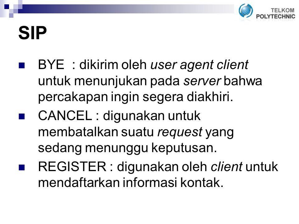 SIP BYE : dikirim oleh user agent client untuk menunjukan pada server bahwa percakapan ingin segera diakhiri.