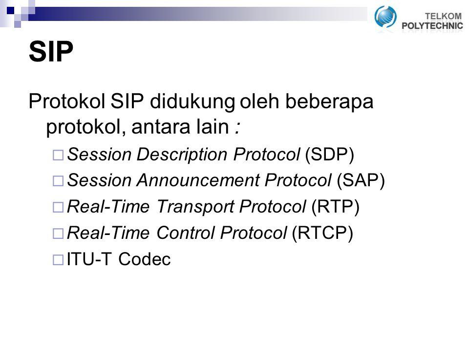 SIP Protokol SIP didukung oleh beberapa protokol, antara lain :