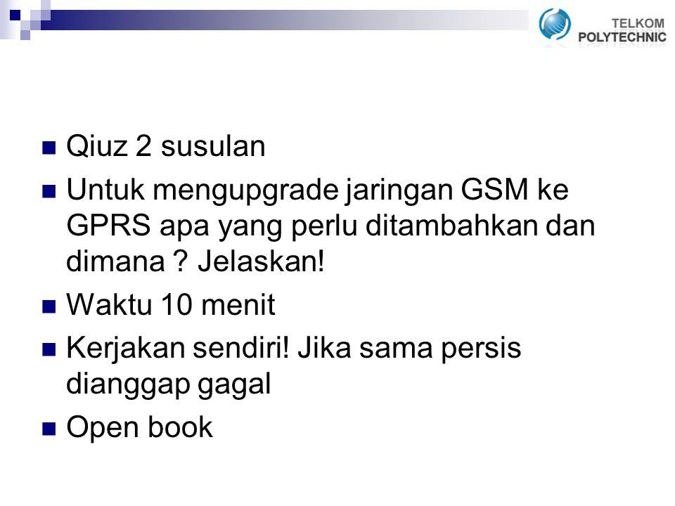 Qiuz 2 susulan Untuk mengupgrade jaringan GSM ke GPRS apa yang perlu ditambahkan dan dimana Jelaskan!