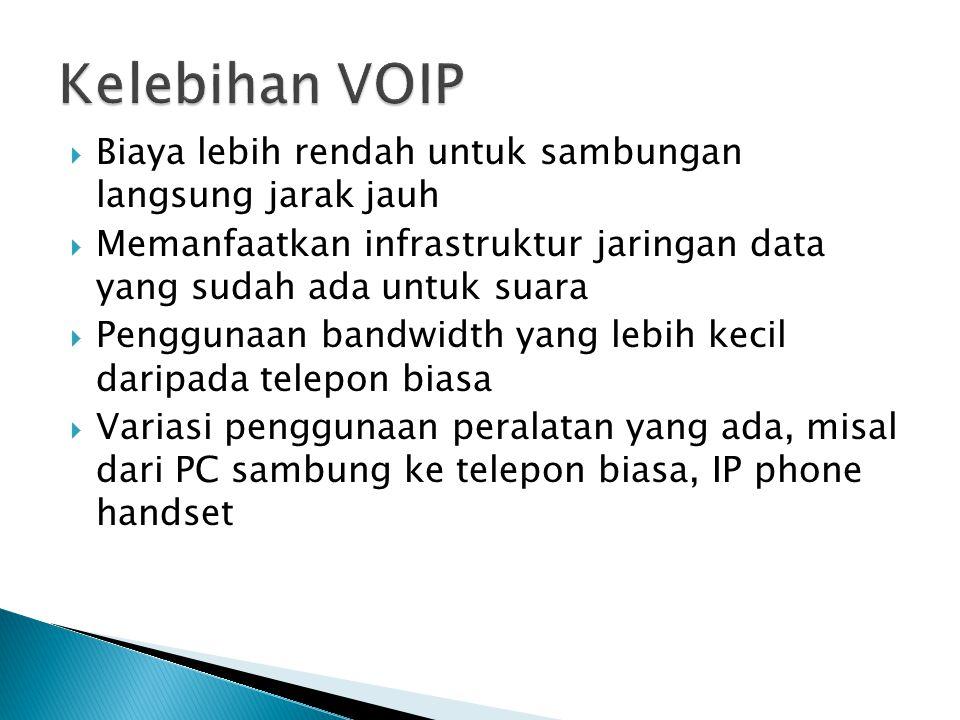 Kelebihan VOIP Biaya lebih rendah untuk sambungan langsung jarak jauh