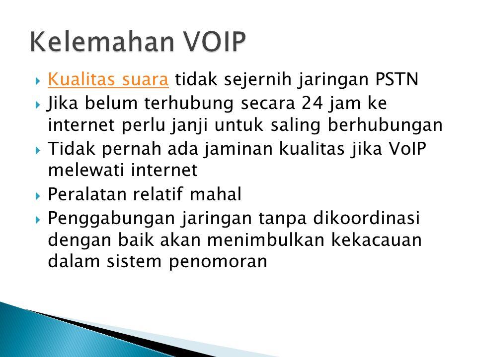 Kelemahan VOIP Kualitas suara tidak sejernih jaringan PSTN