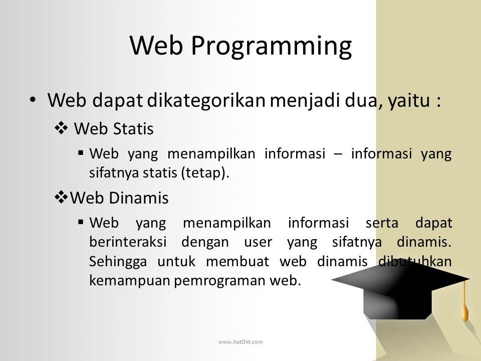Web Programming Web dapat dikategorikan menjadi dua, yaitu :