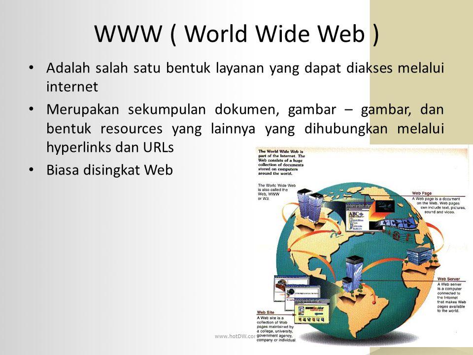 WWW ( World Wide Web ) Adalah salah satu bentuk layanan yang dapat diakses melalui internet.