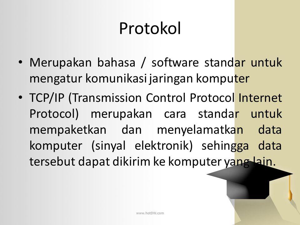 Protokol Merupakan bahasa / software standar untuk mengatur komunikasi jaringan komputer.