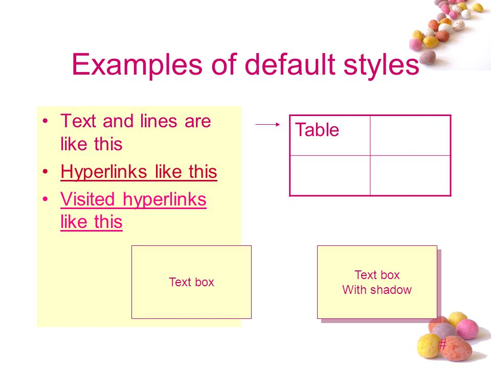 Examples of default styles