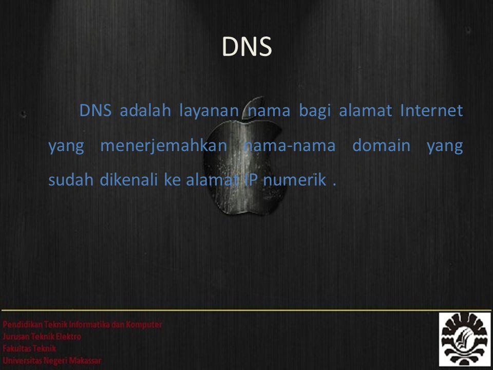 DNS DNS adalah layanan nama bagi alamat Internet yang menerjemahkan nama-nama domain yang sudah dikenali ke alamat IP numerik .