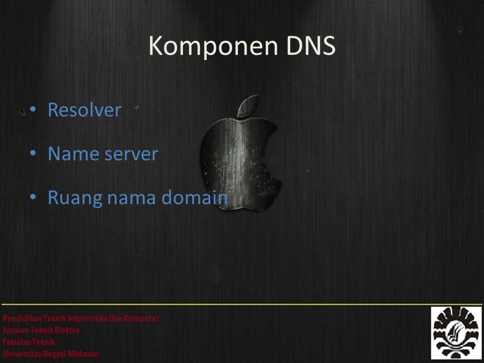 Komponen DNS Resolver Name server Ruang nama domain