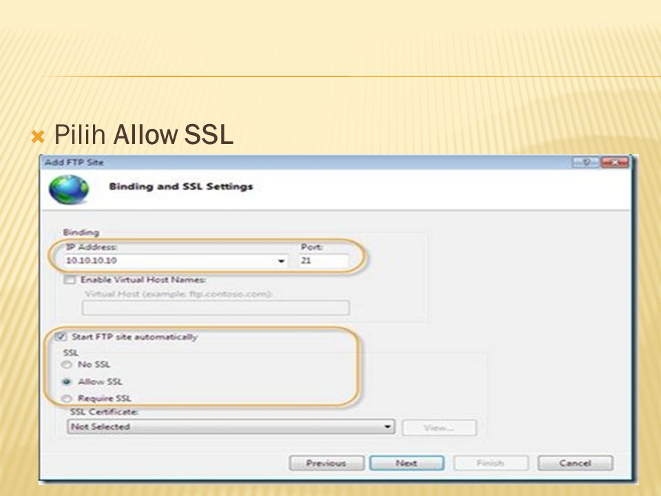 Pilih Allow SSL