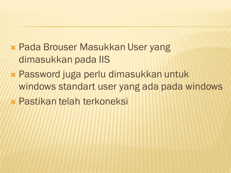 Pada Brouser Masukkan User yang dimasukkan pada IIS