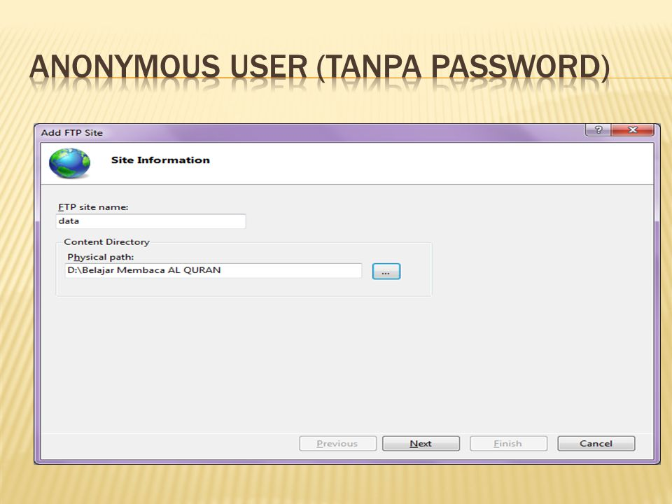 Anonymous user (Tanpa Password)