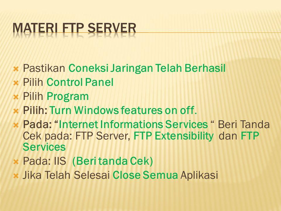 Materi FTP Server Pastikan Coneksi Jaringan Telah Berhasil