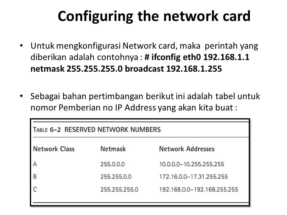 Configuring the network card