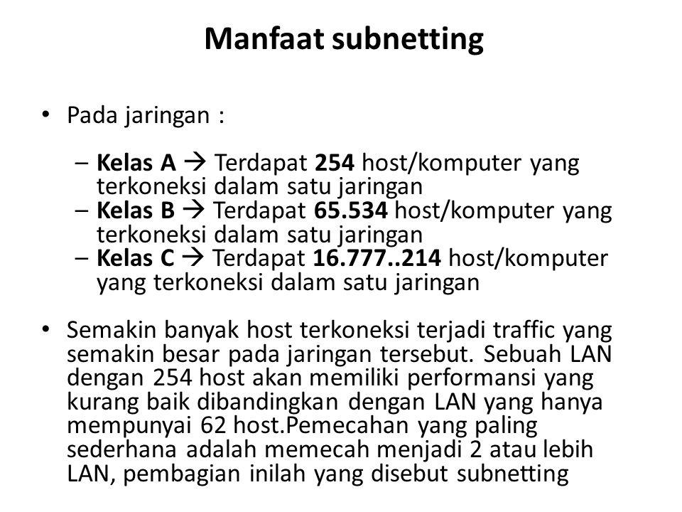 Manfaat subnetting Pada jaringan :