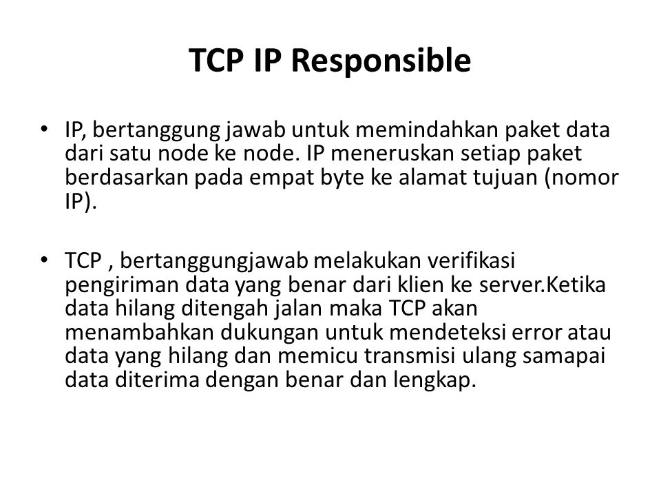 TCP IP Responsible