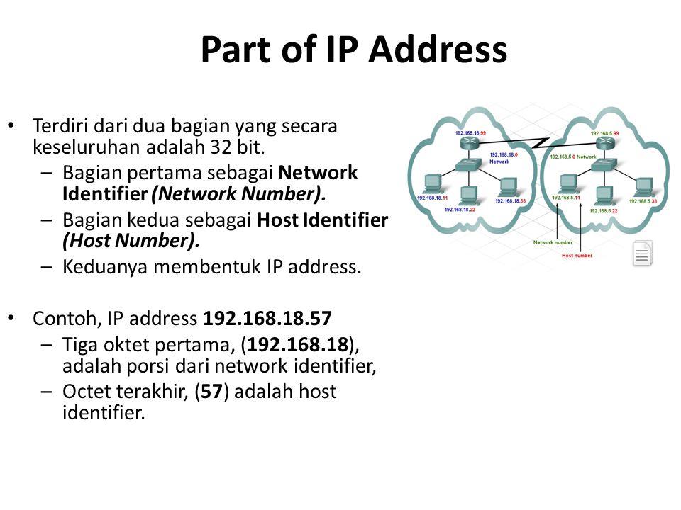 Part of IP Address Terdiri dari dua bagian yang secara keseluruhan adalah 32 bit. Bagian pertama sebagai Network Identifier (Network Number).