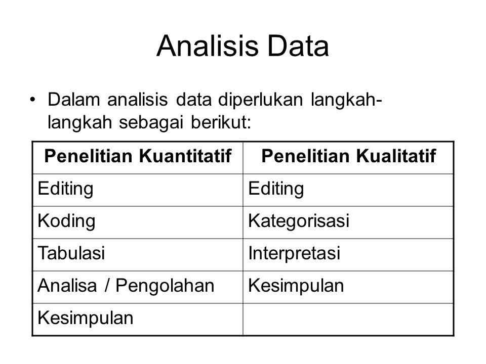 Penelitian Kuantitatif Penelitian Kualitatif