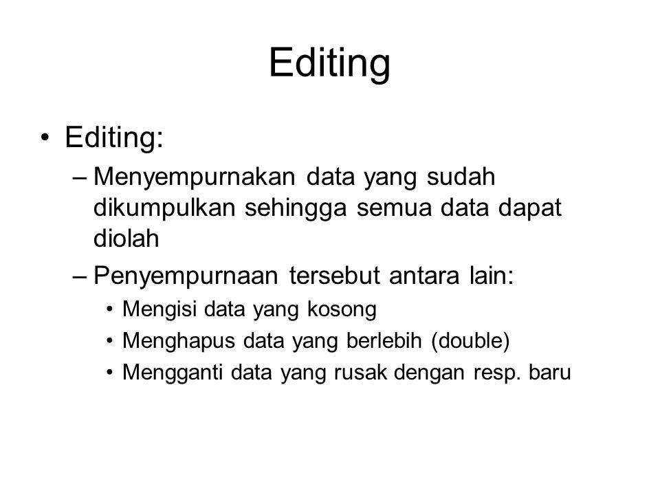 Editing Editing: Menyempurnakan data yang sudah dikumpulkan sehingga semua data dapat diolah. Penyempurnaan tersebut antara lain: