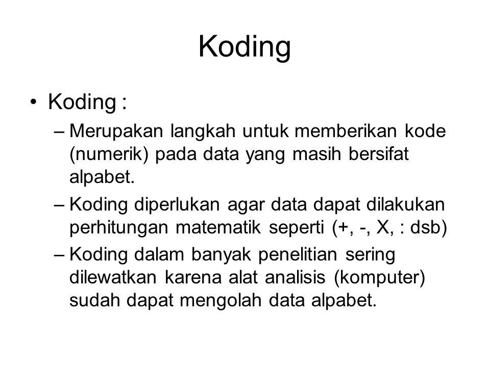 Koding Koding : Merupakan langkah untuk memberikan kode (numerik) pada data yang masih bersifat alpabet.