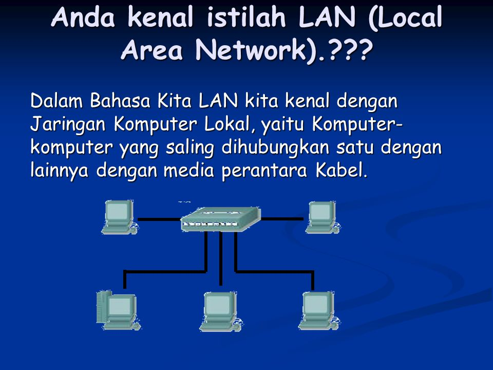 Anda kenal istilah LAN (Local Area Network).