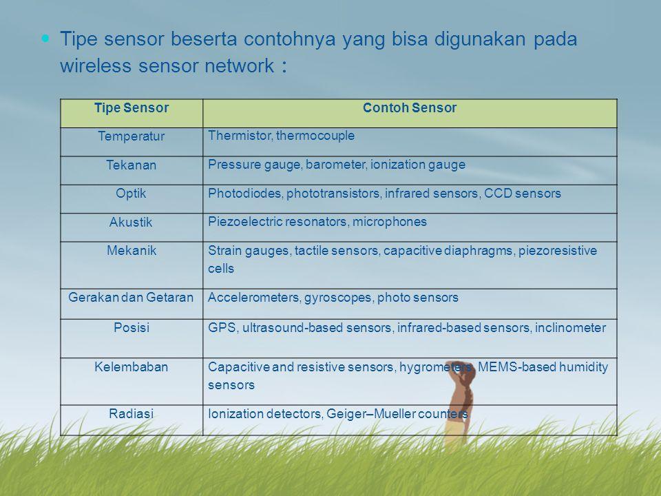 Tipe sensor beserta contohnya yang bisa digunakan pada wireless sensor network :