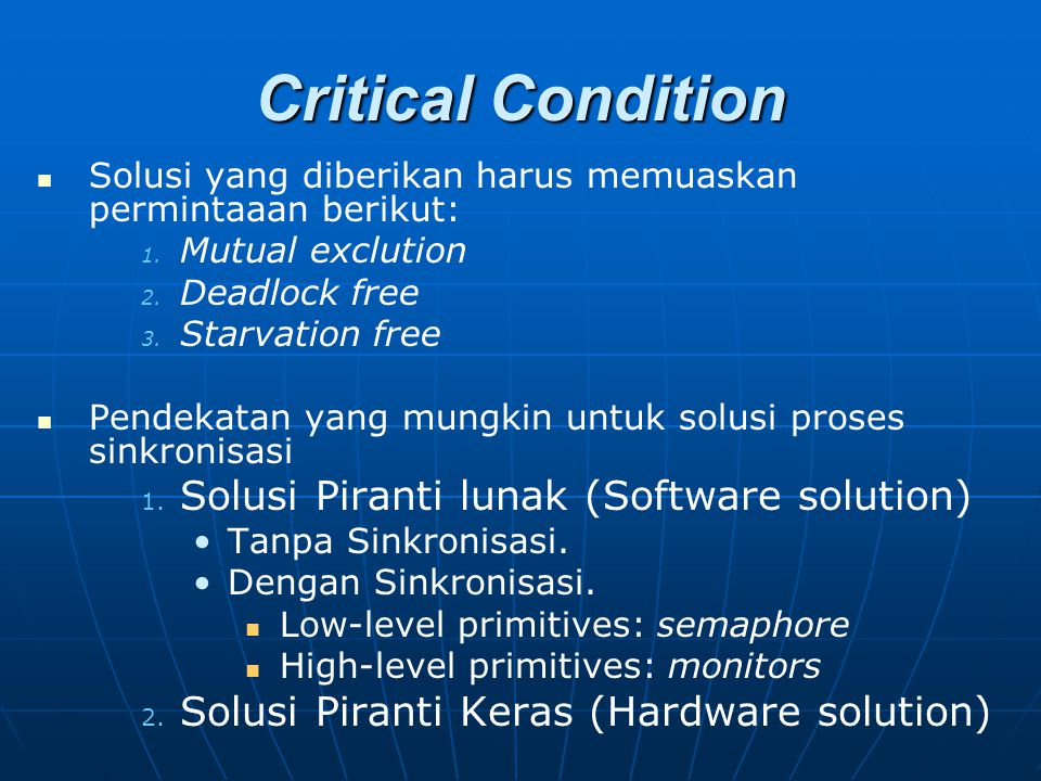 Critical Condition Solusi Piranti lunak (Software solution)