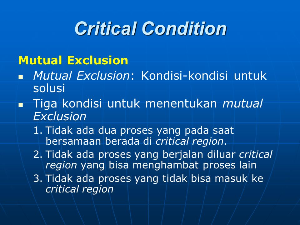 Critical Condition Mutual Exclusion