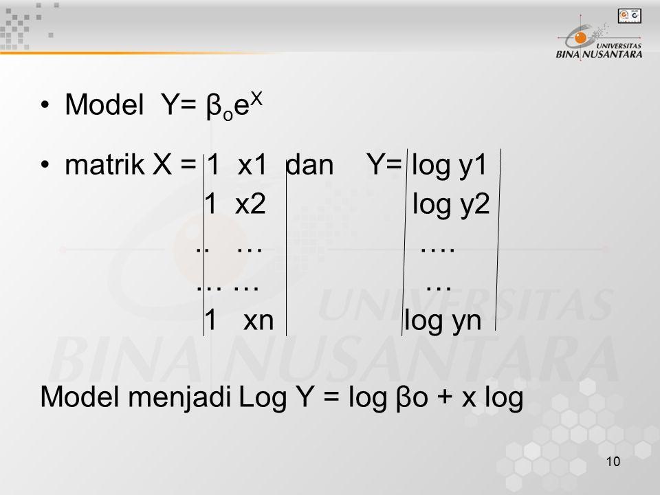 Model Y= βoeX matrik X = 1 x1 dan Y= log y1. 1 x2 log y2. .. … ….