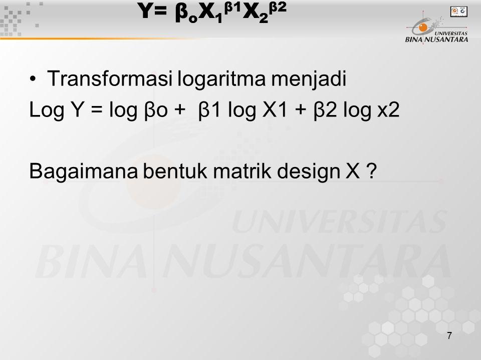 Y= βoX1β1X2β2 Transformasi logaritma menjadi. Log Y = log βo + β1 log X1 + β2 log x2.