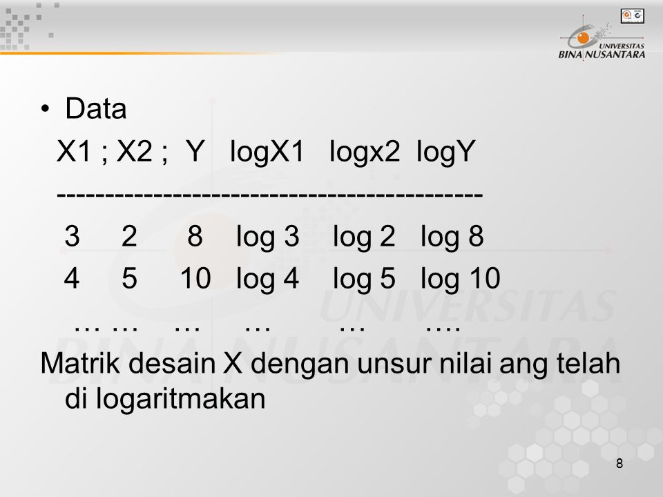 Data X1 ; X2 ; Y logX1 logx2 logY. -------------------------------------------- 3 2 8 log 3 log 2 log 8.