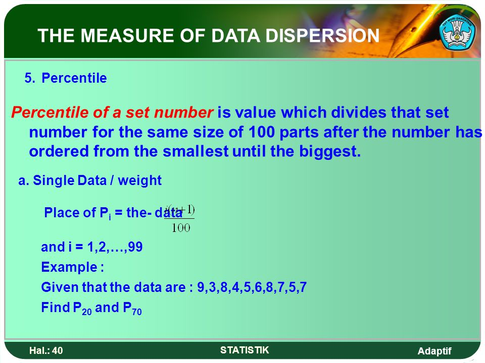 5. Percentile THE MEASURE OF DATA DISPERSION