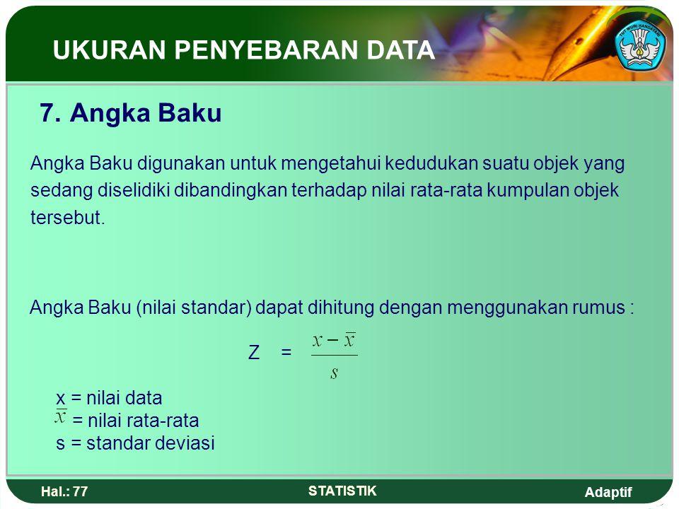 7. Angka Baku UKURAN PENYEBARAN DATA