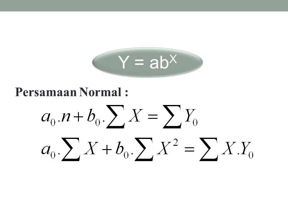 Y = abX Persamaan Normal :