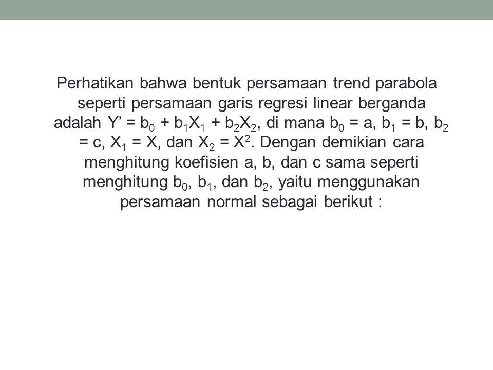 Perhatikan bahwa bentuk persamaan trend parabola seperti persamaan garis regresi linear berganda adalah Y' = b0 + b1X1 + b2X2, di mana b0 = a, b1 = b, b2 = c, X1 = X, dan X2 = X2.