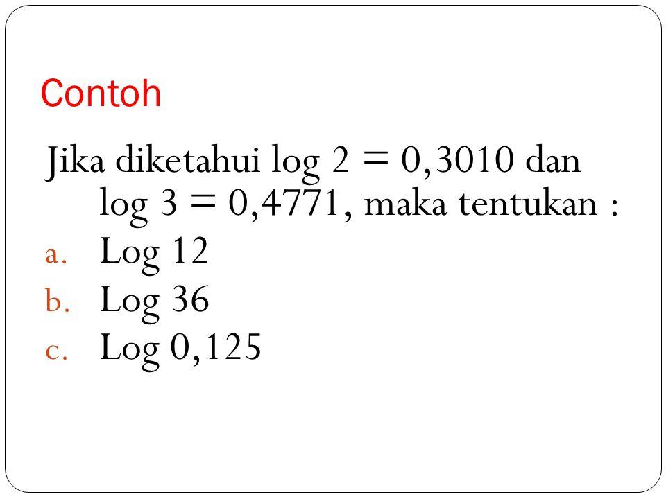 Jika diketahui log 2 = 0,3010 dan log 3 = 0,4771, maka tentukan :