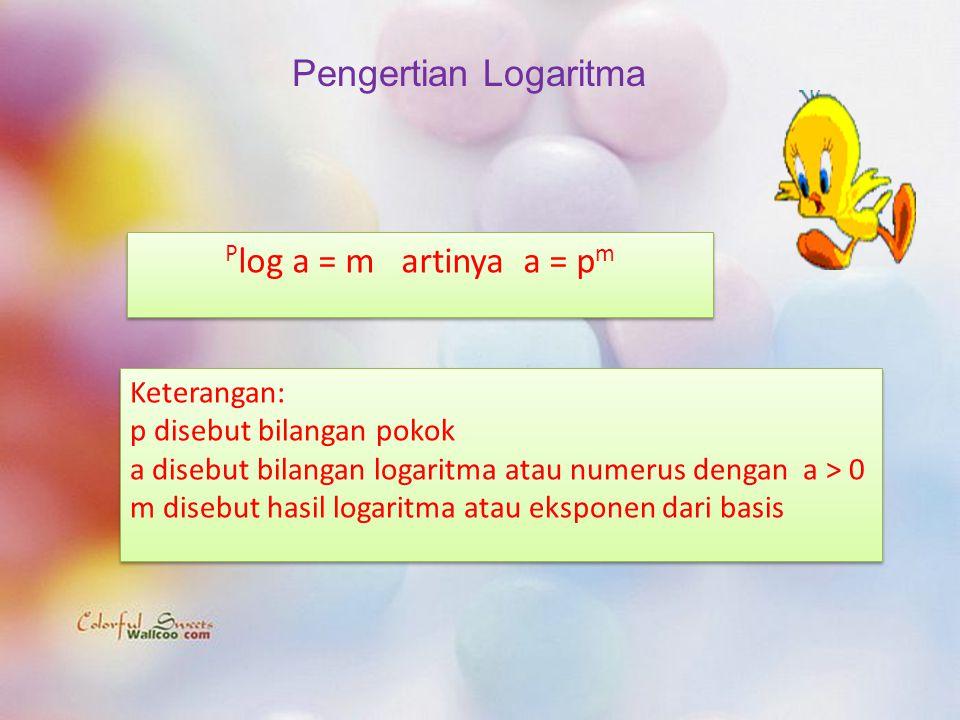 Pengertian Logaritma Plog a = m artinya a = pm Keterangan: