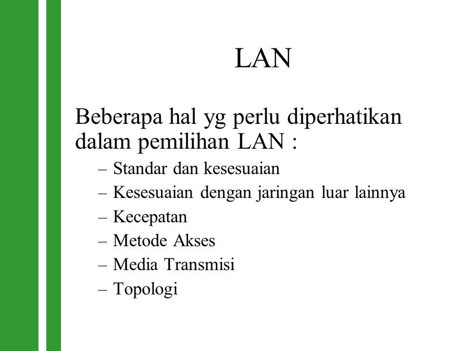 LAN Beberapa hal yg perlu diperhatikan dalam pemilihan LAN :