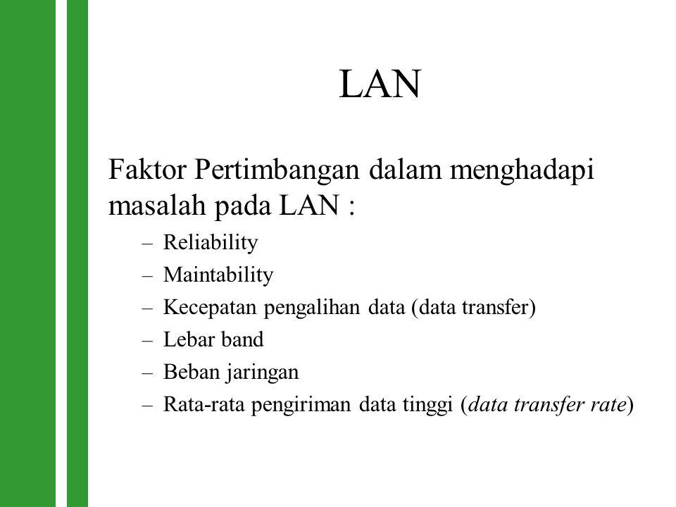 LAN Faktor Pertimbangan dalam menghadapi masalah pada LAN :