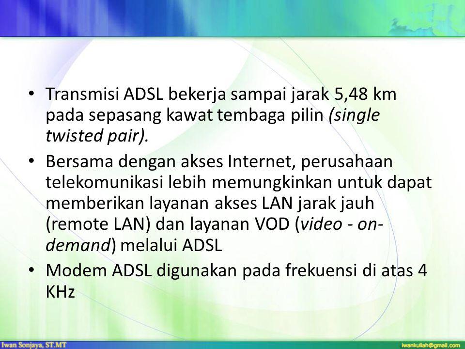 Transmisi ADSL bekerja sampai jarak 5,48 km pada sepasang kawat tembaga pilin (single twisted pair).
