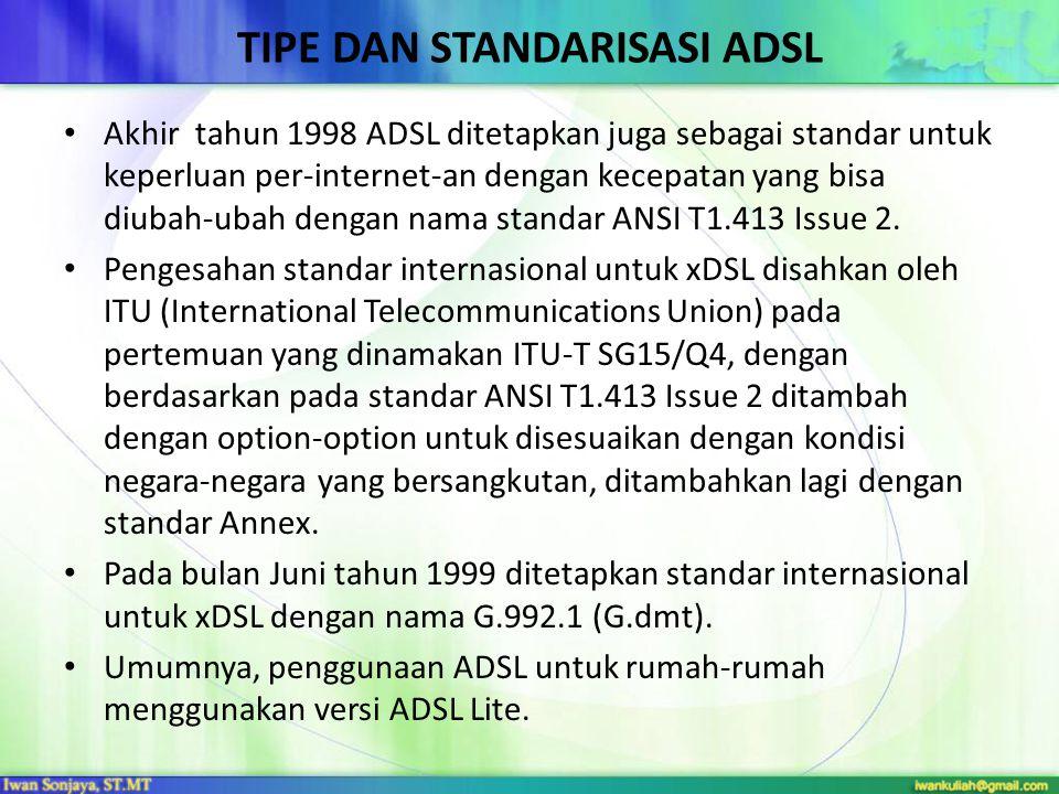 Tipe dan standarisasi ADSL