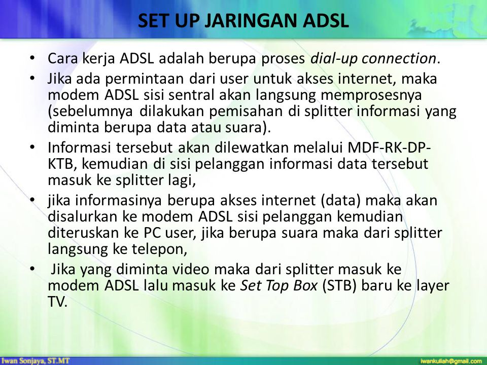 Set Up Jaringan ADSL Cara kerja ADSL adalah berupa proses dial-up connection.