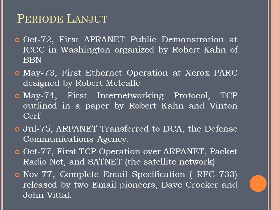 Periode Lanjut Oct-72, First APRANET Public Demonstration at ICCC in Washington organized by Robert Kahn of BBN.