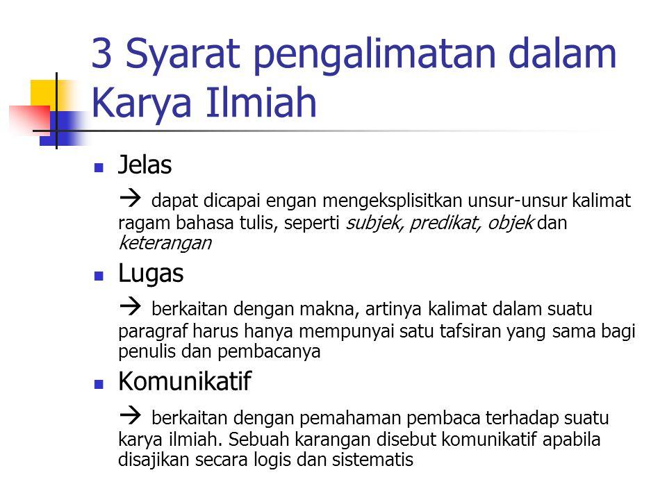 3 Syarat pengalimatan dalam Karya Ilmiah
