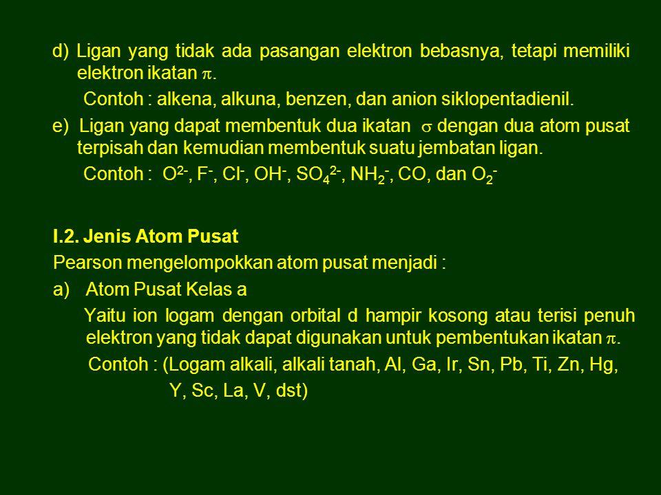 d) Ligan yang tidak ada pasangan elektron bebasnya, tetapi memiliki elektron ikatan .