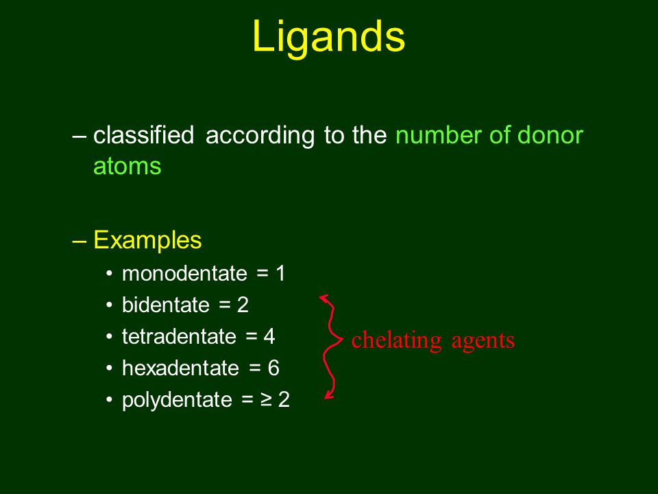 Ligands classified according to the number of donor atoms Examples
