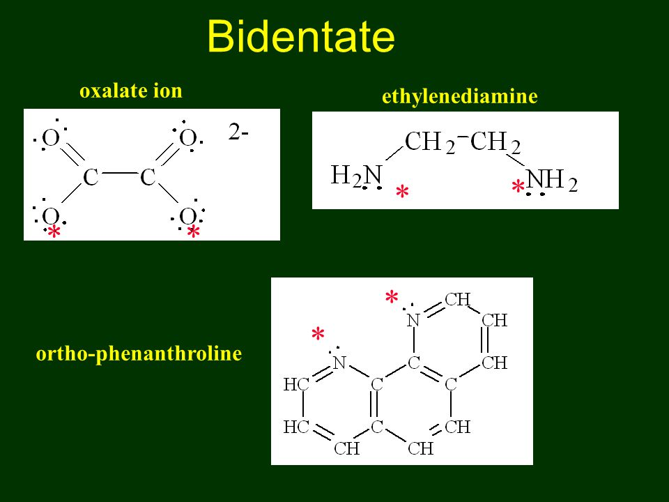 Bidentate oxalate ion ethylenediamine * * * * * * ortho-phenanthroline