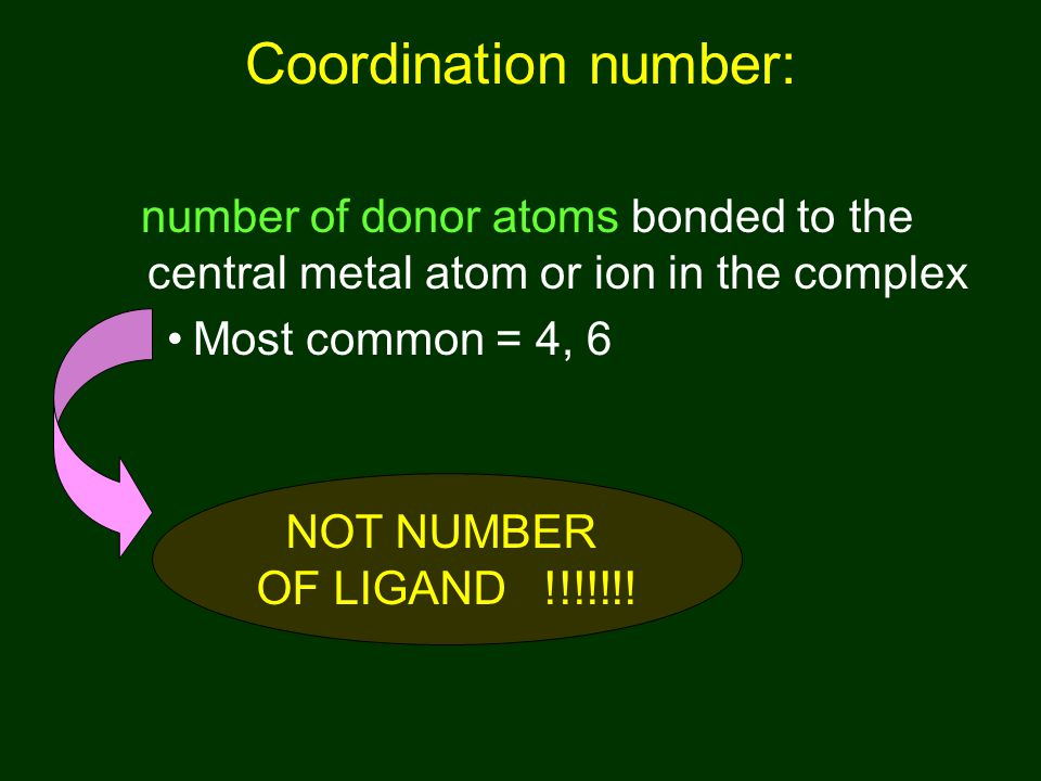 Coordination number: number of donor atoms bonded to the central metal atom or ion in the complex. Most common = 4, 6.