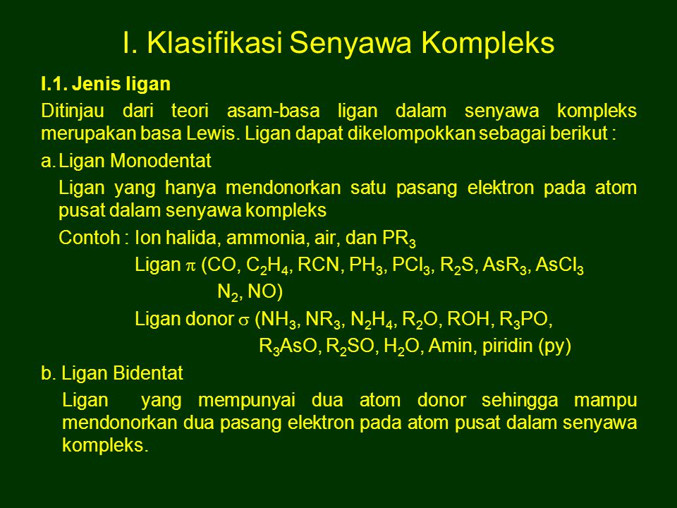 I. Klasifikasi Senyawa Kompleks